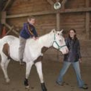 My son riding duke his first rider woo hoo (Duke is 2 in this pic)