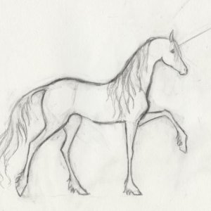 A unicorn art trade for a friend.  It helped that I had just watched The Last Unicorn before I drew it.  :)