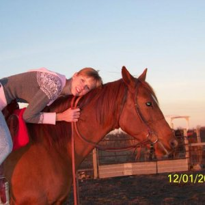 "Rascal and I about a year after he was given to me. No one thought I would ever ride this horse. He was pushing 10 yrs old and many ""experts&quot"