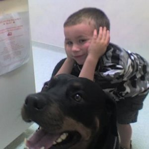 Ethan and Jazz waitin at the vet