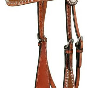 Cowhide Brow Band Headstall - Med Oil (this has both a matching breast collar) -> can add conchos and rhinstones