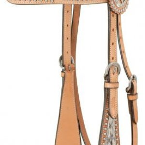 Cowhide Brow Band Headstall - Light Oil (this has both a matching breast collar) -> can add conchos and rhinstones