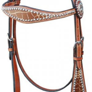 Croc Brow Band Headstall - Med Oil (this has a matching breast collar) -> can add conchos and rhinstones