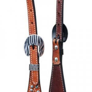 Zebra One Ear Headstall - Med Oil (has a matching breast collar) -> can add conchos and rhinstones