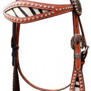 Zebra Brow Band Headstall - Med Oil (has a matching breast collar) -> can add conchos and rhinstones