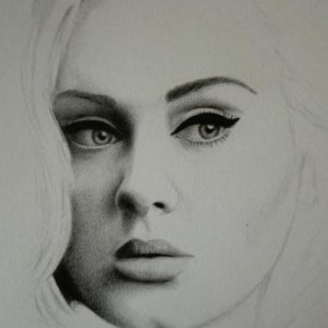 Adele in progress, graphite on 8x10