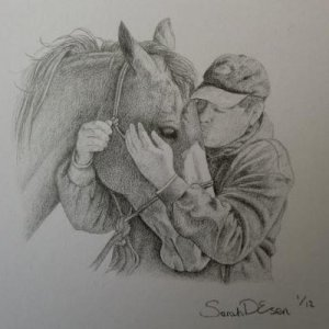 "Rick with his horse, graphite, image size 3x3""  All you haters can kiss my sweet backside x  :-)"