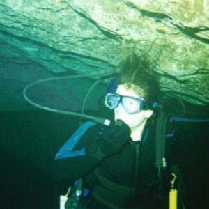 I SCUBA.  This was taken during a cavern dive I did a few years ago.