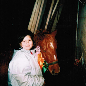 This is me at my first ghymkana with Buddy. I was about nine years old.